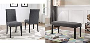 Roundhill Furniture Biony Gray Fabric Dining Chairs with Nailhead Trim, Set of 2 & Biony Fabric Dining Bench with Nailhead Trim, Grey