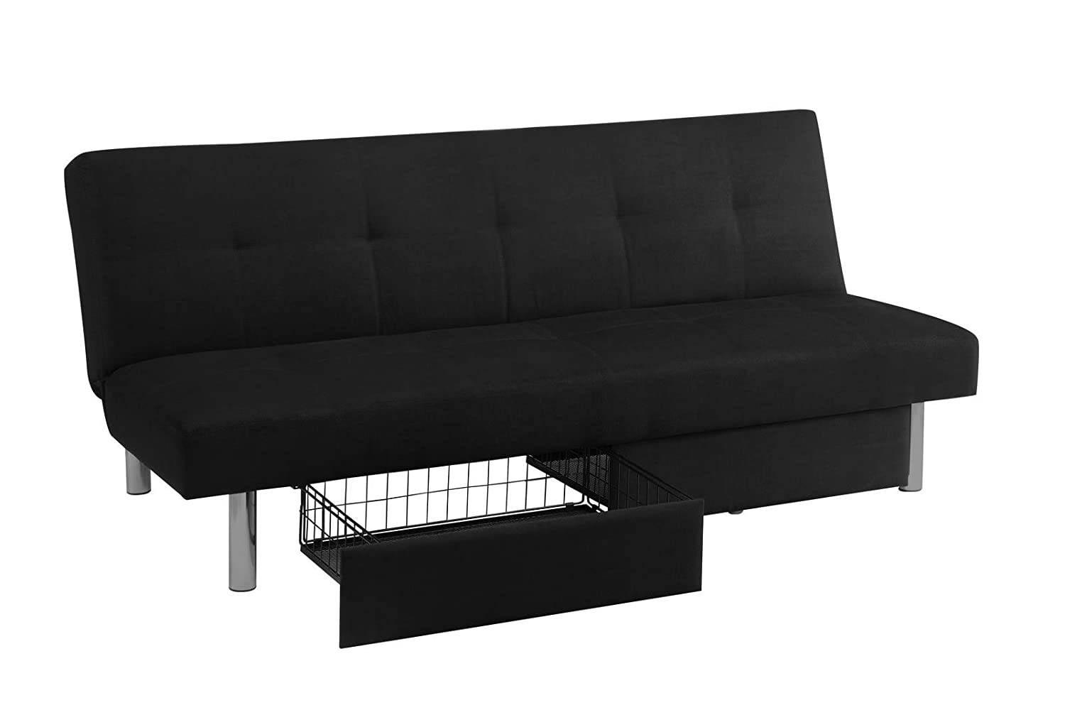 Convertible couch with storage - Amazon Com Dhp Sola Convertible Sofa Futon W Space Saving Storage Compartments Chrome Legs And Upholstered In Rich Black Microfiber Kitchen Dining