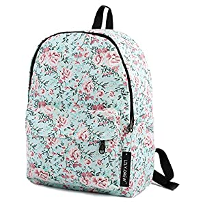 Lightweight Canvas Backpack for Women, Teens and Kids (Flower Blue Medium)