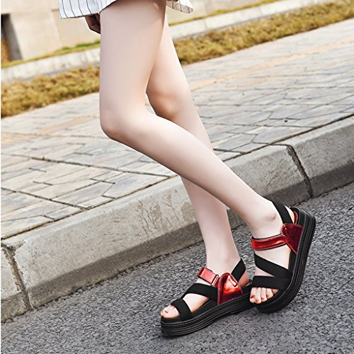 Sandals ZCJB Summer Thick Bottom Open Toe Women's Shoes Leisure Students Velcro Beach Shoes (Color : Style 2, Size : 37) Style 1