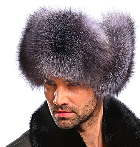Easting Silver Fox Fur & Leather Russian Ushanka Hat (Silver Fox Natural Color) ()
