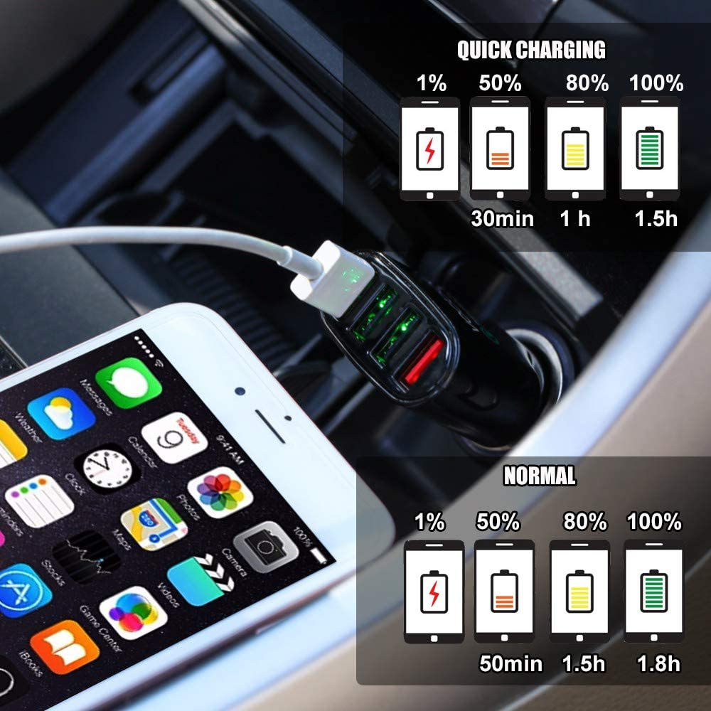 USB Car Charger 4 Port Fast Chargers 3.0 Multi Sockets 2.4 Amp for iPhone Samsung