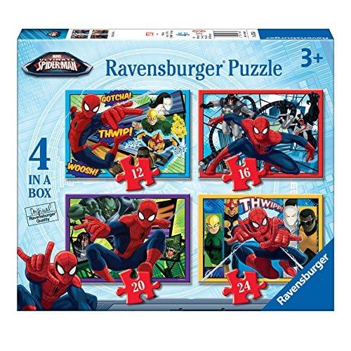 Ravensburger Marvel Ultimate Spider-Man 4dans une boîte (12, 16, 20, 24PC) Puzzles