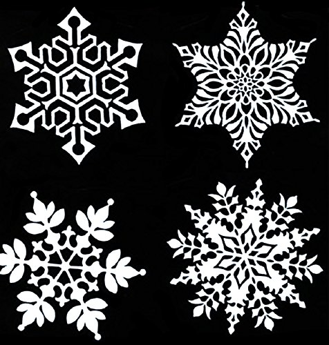 """White Snowflakes Item # 517W/C Waterslide Ceramic Decals By The Sheet (3"""" dia 8 pcs)"""