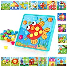 Baby Color Button Art Toys for Toddler, DIY Educational Learning Toy