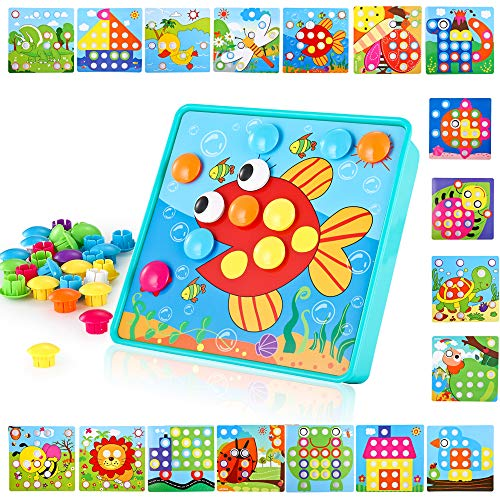 LUKAT Baby Color Button Art Toys for Toddler, DIY Educational Learning - Old Toys For One Art Year