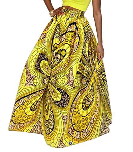 t Robes Fashion Party Femmes Impression Casual Lache Tunique Beachwear de Plage Hawa Personnalit Jupe Maxi Longue Swing enne Jupes Jaune Jupes rqrUwY