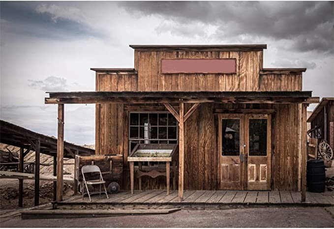 8x6.5ft Ruined Wild West Courier Station Vinyl Photography Background Deserted Old Tavern Backdrop Remote Desolate Western Cowboy Portrait Shoot Saloon Studio Props