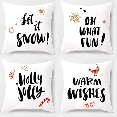 PSDWETS Christmas Decorations Let it Sonw-Holly Jolly-OH What Fun-Warm Wishes Winter Pillow Covers Set of 4 Christmas Decor Throw Pillow Covers Cushion Cover 18 X 18