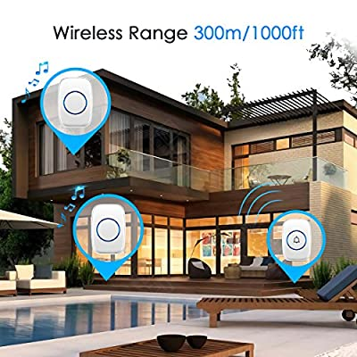 Bodyguard Wireless Doorbell, Waterproof Doorbell Chime with 2 plug-in Receivers and 1 Remote Push Button Operating at 1000-feet Range with 38 Chimes,3 Level Volume, LED Indicator-White