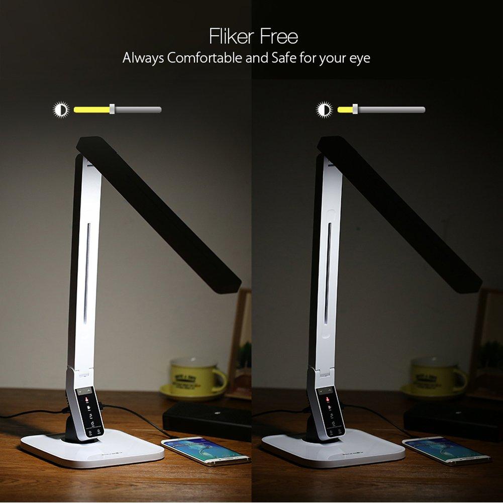 Lámpara de Escritorio LED, BlitzWolf Lámpara de Mesa con 27 Bombillas 4 Modos de Luz, Panel Plegable con Control Táctil,Cuidado de Los Ojos, + 5V/1.5A Puerto USB de Carga para Dormitorio,Lectura(Blanco)