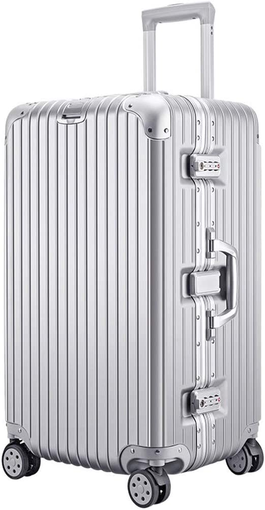 Color : Silver, Size : 26 inch Oversized Suitcase Male Trolley Case Female Password Box Student Aluminum Frame Travel Box 32 Inch ABS+PC Material