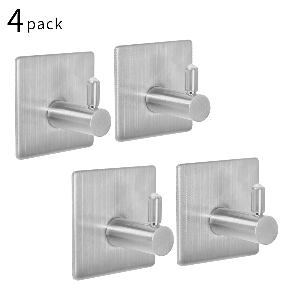 SZUAH 4-Pack Self Adhesive Coat Towel Robe Hooks, Self Sticky on Wall Hooks for Kitchen Bathrooms Lavatory, 18/8 Heavy Duty Stainless Steel, Water and Rust Proof.