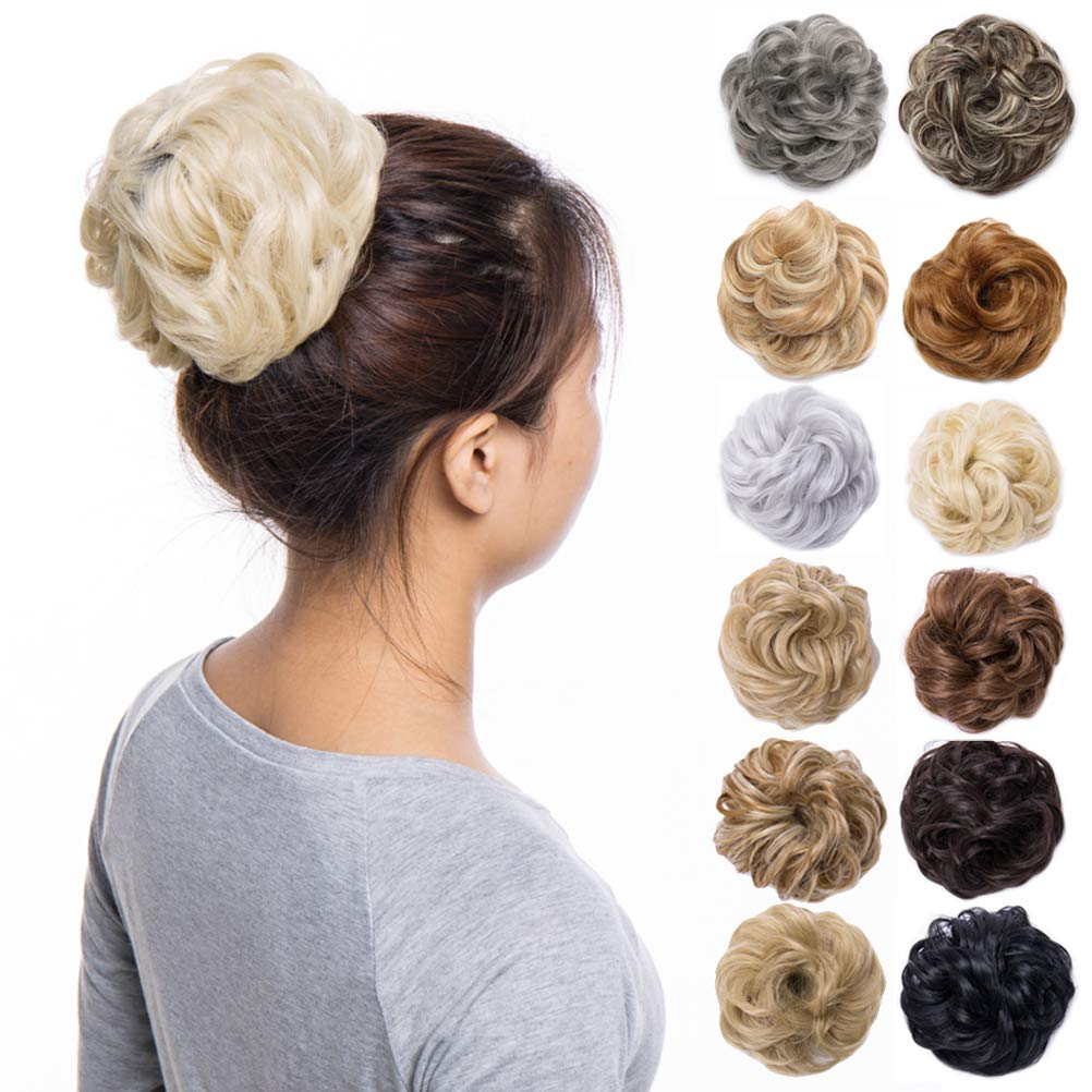 Scrunchy Updo Wavy Straight Hair Bun Clip Messy Donut Chignons Synthetic Hairpiece Hair Extension (bleach blonde-thicker) by Benehair