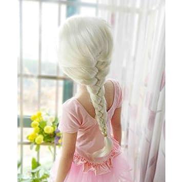 Frozen elsa wig blond girl kids costume Braid free stickers