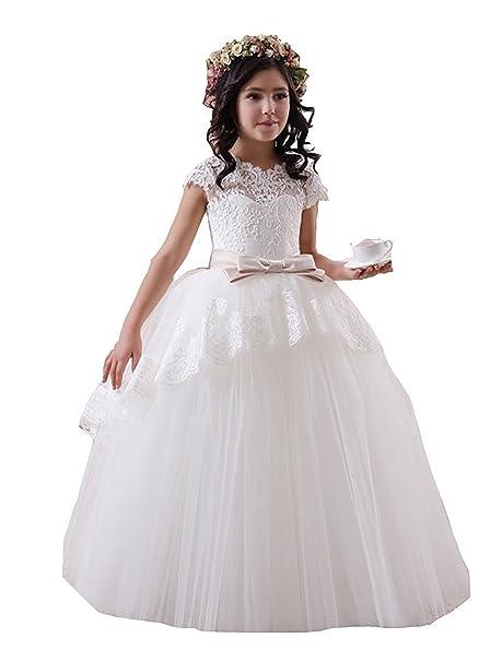 VIPbridal Vestidos de encaje de niña de flor para bodas Vestido de primera comunión de niñas