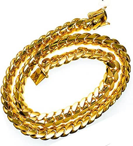 Miami 11.75MM Solid Cuban Link 10KT Yellow Gold Chain 28