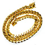 """Miami 11.75MM Solid Cuban Link 10KT Yellow Gold Chain 28"""" long Chain Necklace"""