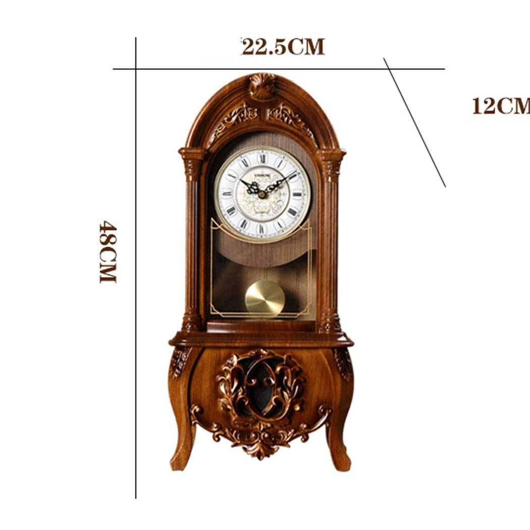 HONGNA European Retro Resin Clocks and Creative Home Clocks Living Room Large Vintage Pendulum Clock American Desktop Ornaments Desktop Clock 10 Inches (Color : Brown-Report time) by HONGNA (Image #2)