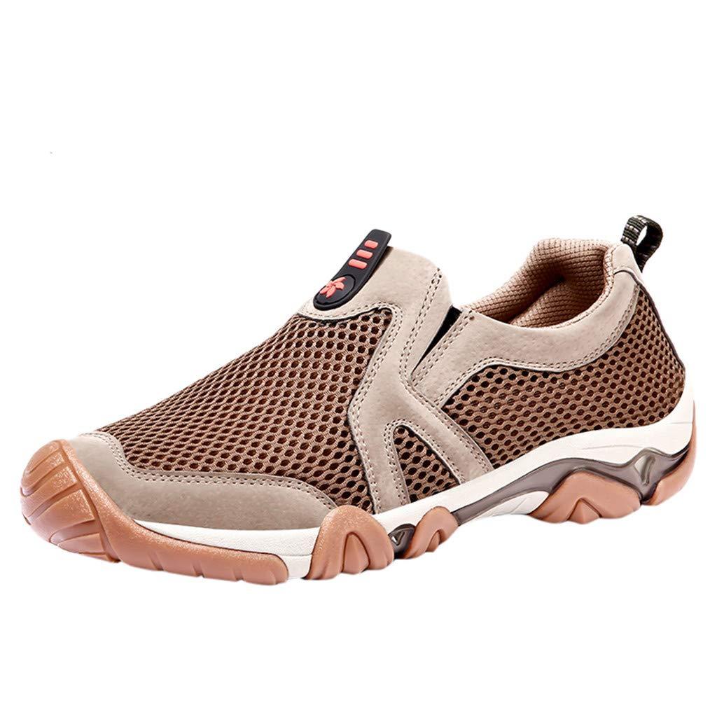 Premium Mens Sport Shoe,Breathable Mesh Workout Running Shoes Walking Slip-On Sneakers (US:10, Khaki)