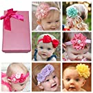 Elesa Miracle Hair Accessories Sweet Baby Girl's Gift Box with Chiffon Lace Hair Bow Flower Headband (7pc different style headband)