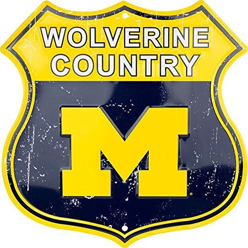 (Joeaney Tin Sign New Wolverine Country University of Michigan Route Sign 8 x 12 Inch)