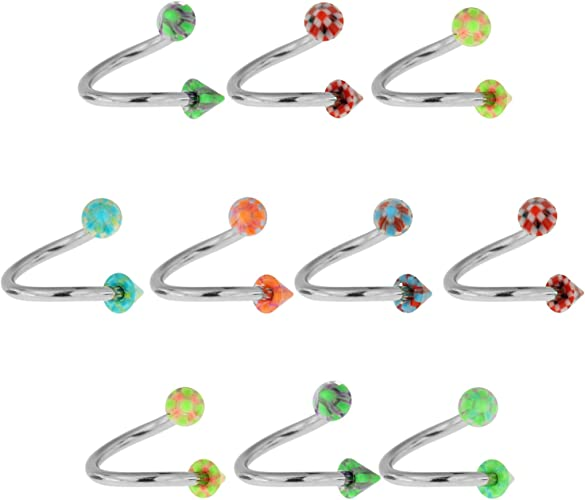 10 Pieces Assorted Color Bioflex Circular Barbell with 3MM UV Pyrex Glass Look Cone Piercing jewelry