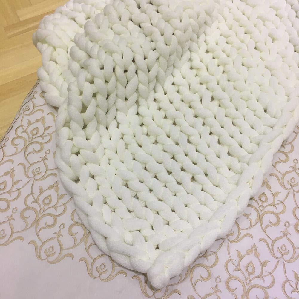 White golden.Y Yarn Blanket,Ultrathick Airconditioner Quilt Sofa Blanket Hand Woven Large Carpet