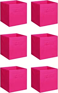 New Home Storage Bins Organizer Fabric Cube Boxes Shelf Basket Drawer Container Unit (6, Pink)