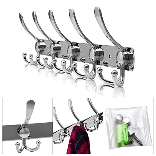 OGORI 15 Hooks Stainless Steel Coat Robe Hat Clothes Wall Mount Hook Hanger Towel Rack