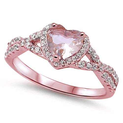 577c5483787 Oxford Diamond Co Rose Gold Plated Simulated Morganite Heart Infinity .925  Sterling Silver Ring Sizes