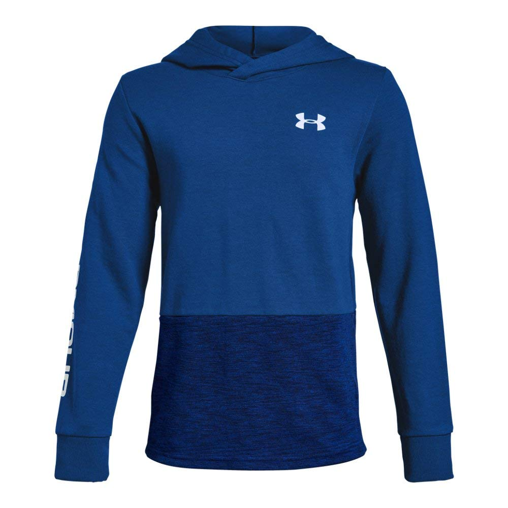 Under Armour Boys Double Knit Hoodie, Royal (400)/White, Youth Medium by Under Armour