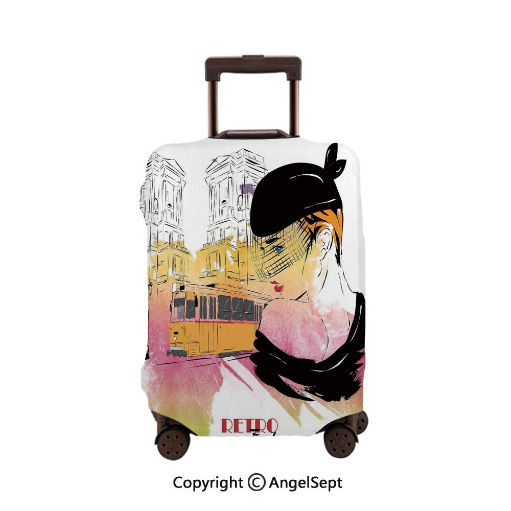 Fashion Travel Suitcase Protector Zipper,Scribble Little and Big Different Size He Forms Love Valentines Mothers Day Theme Coral,26x37.8inches,Washable Print Luggage Cover