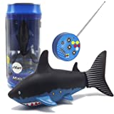 eMart Mini Remote Control Toy Electric RC Fish Shark Swim in Water for Kids Gift - Black