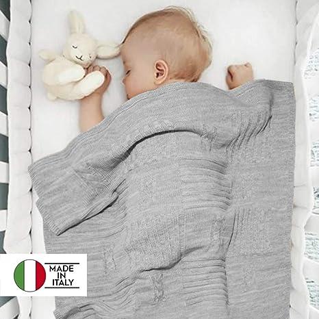 Twosteps Copertina Neonato Bambino Lana Misto Merino Invernale Calda  Morbida Avvolgente Elegante di Altissima Qualità Culla d0518b213a80