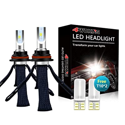 LED Headlight Bulbs Conversion Kit - 4WDKING 9007 HB5 Fanless Copper Braid Heat Dissipation Super Bright High/Low Beam 60W 8000LM 6500K Cool White with T10 x2: Automotive