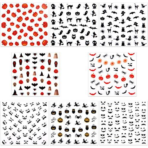 Halloween Batman Art (URATOT 16 Sheets Halloween Nail Decals Stickers Art Self-Adhesive Stickers for Halloween Party Nail)