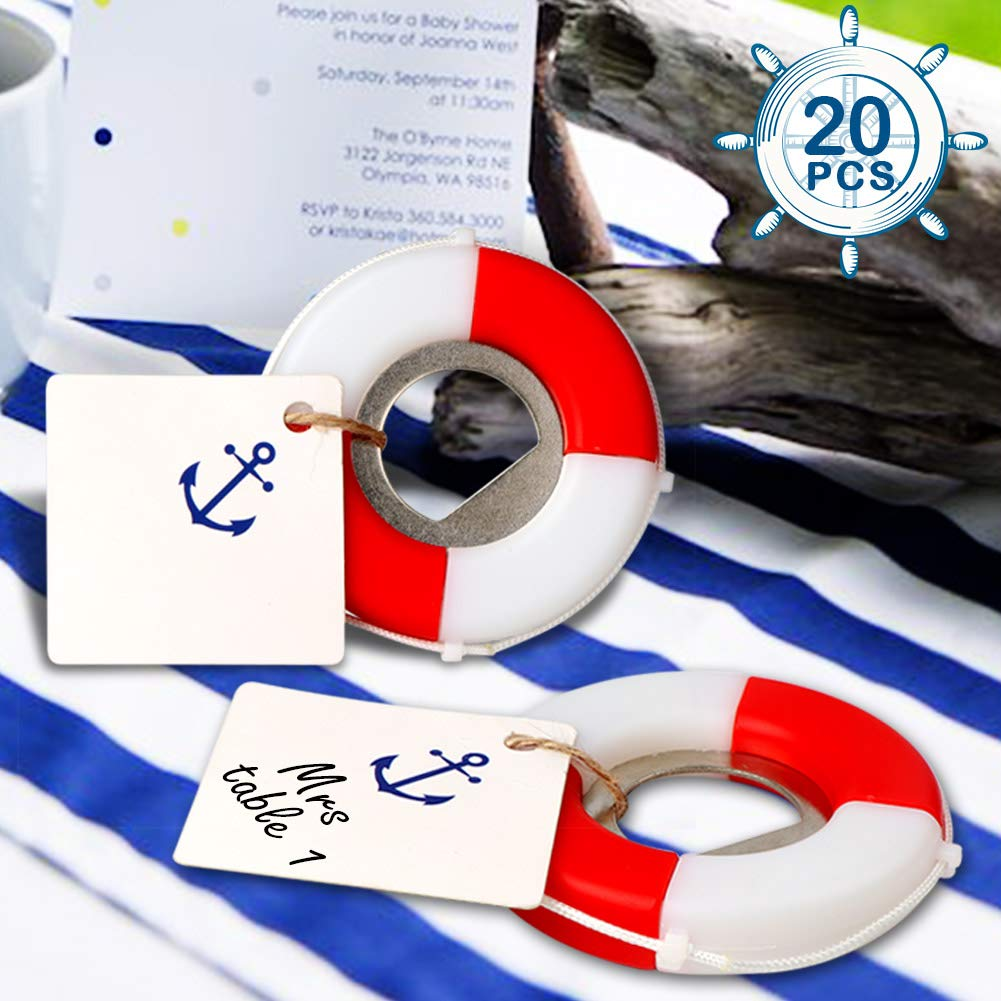 AerWo 20pcs Nautical Baby Shower Favors, Life Saver Bottle Opener for Beach Wedding Favors with Anchor Logo Tag Card, Nautical Baby Shower Birthday Party Gifts for Guest
