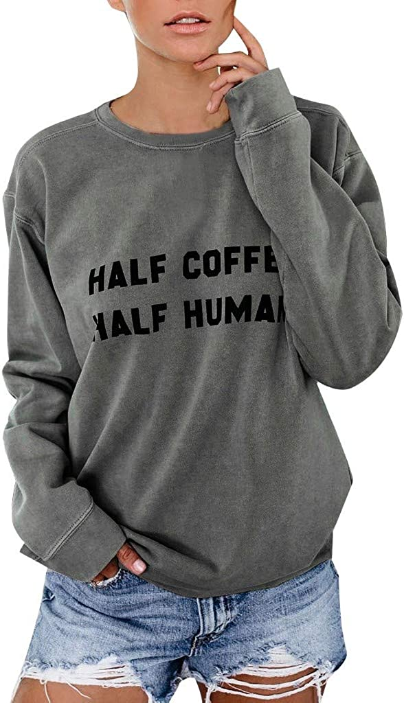 Pumsun Womens Half Coffee Half HUMEN Letter Print Long Sleeve Sweatshirt Pullover T-Shirt Tops