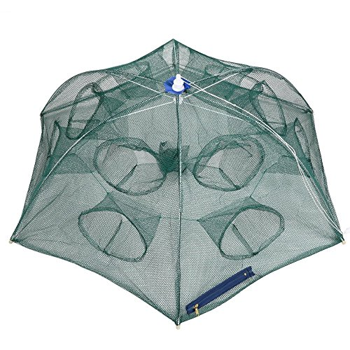 Goture Portable Folded Fishing Net Fish Shrimp Minnow Crayfish Crab Baits Cast Mesh Trap automatic (Automatic 6 sides 12 Holes) (Perch Trap)