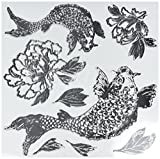 Prima Marketing Iron Orchid Designs Decor Clear Stamps-Koi and Peony, 12'' x 12''