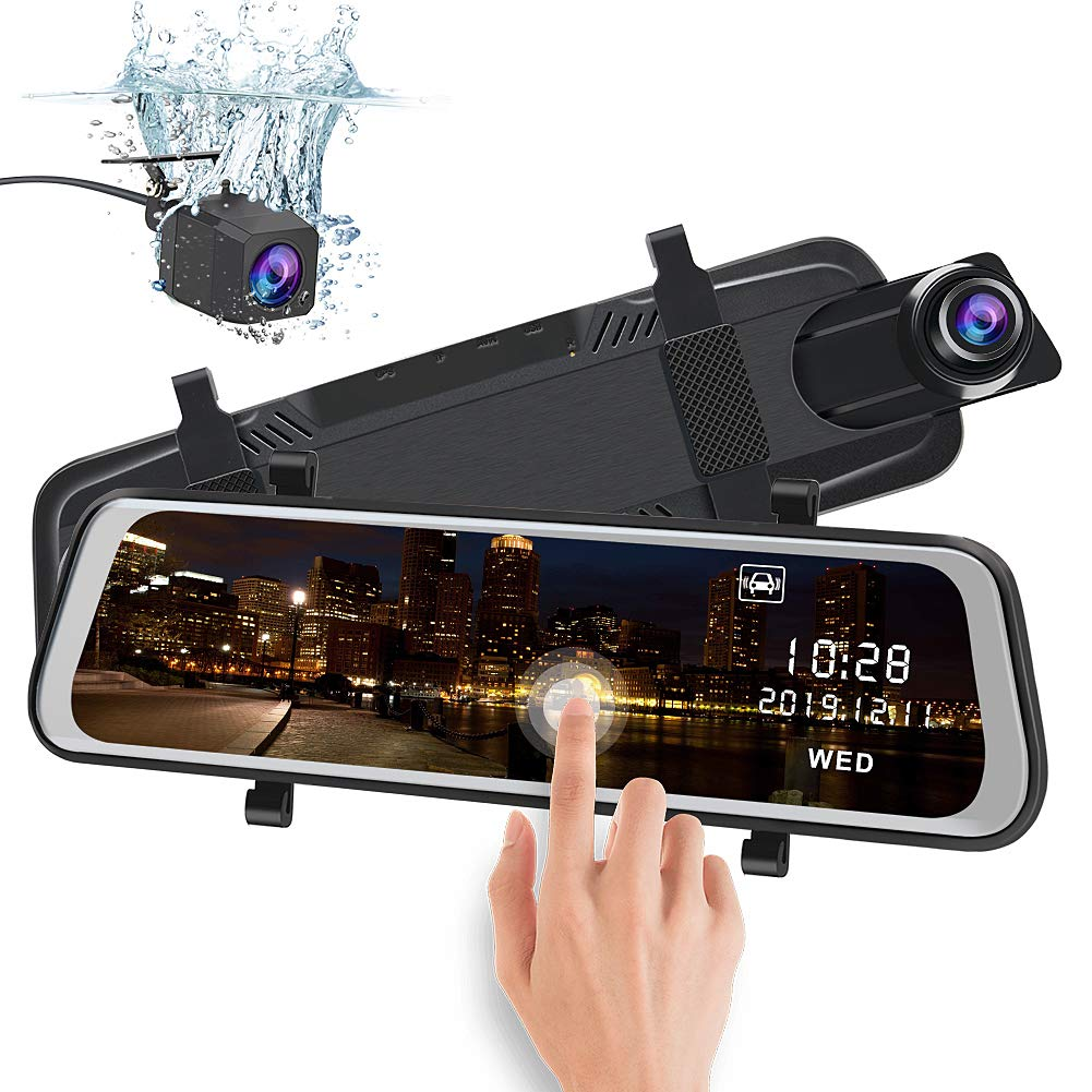 junsun Mirror Dash Cam Backup Camera 10 Inch Touch Screen 1080P Stream Media Dual Lens Full HD Reverse Camera 170°Wide Angle with Backup Camera G-Sensor Parking Monitor