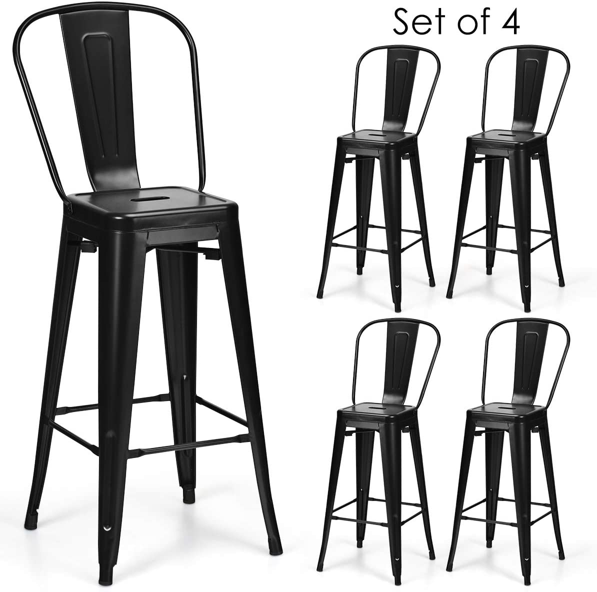 COSTWAY Metal Bar stools Set of 4, with Removable Back, Cafe Side Chairs with Rubber Feet, Stylish and Modern Chairs, for Kitchen, Dining Rooms, and Side Bar Black-Update, 30