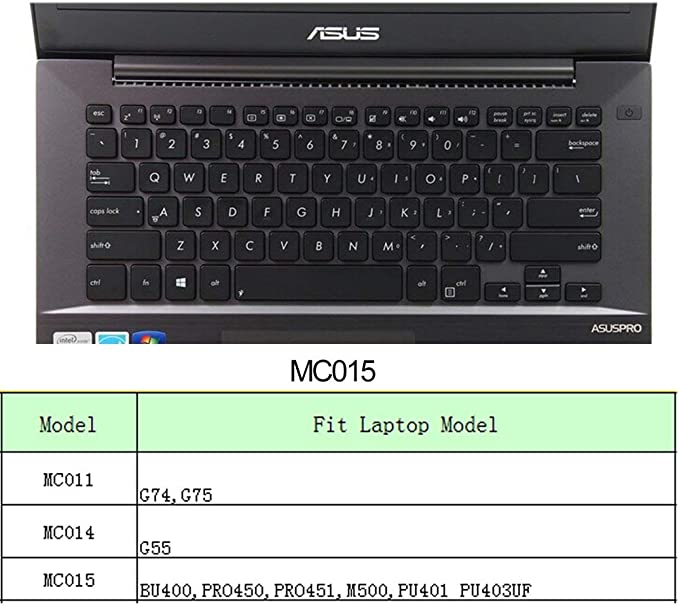 COOSKIN Keyboard Cover Skin for ASUS BU400,PRO450,PRO451,M500,PU401,PU403UF Keyboard Protector Ultra Thin Clear Soft Protect MC015