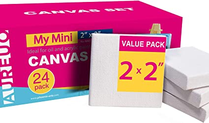 Ideal for Painting /& Craft COLOR MAGIC Mini Stretched Canvas 2x2 Inch//24 Pack 2//5 Inch Profile Square Canvas for Kids