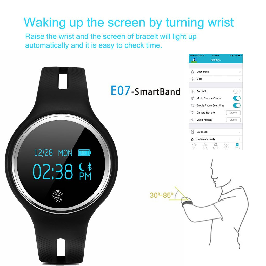 Excelvan E07 - Smartwatch Reloj de Pulsera para Móvil Android IOS (OLED 0.96