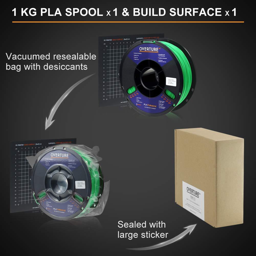 Filament 1.75mm PLA Professional Toughness Enhanced PLA Roll with 3D Build Surface 200 /× 200mm Overture PLA Plus Dimensional Accuracy +//- 0.05 mm Premium PLA 1kg Spool 2.2lbs PLA+ Black