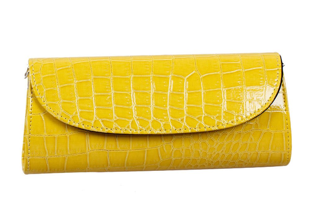 Bundle Monster Womens Envelope Evening Patent Croc Skin Embossed Clutch - YELLOW