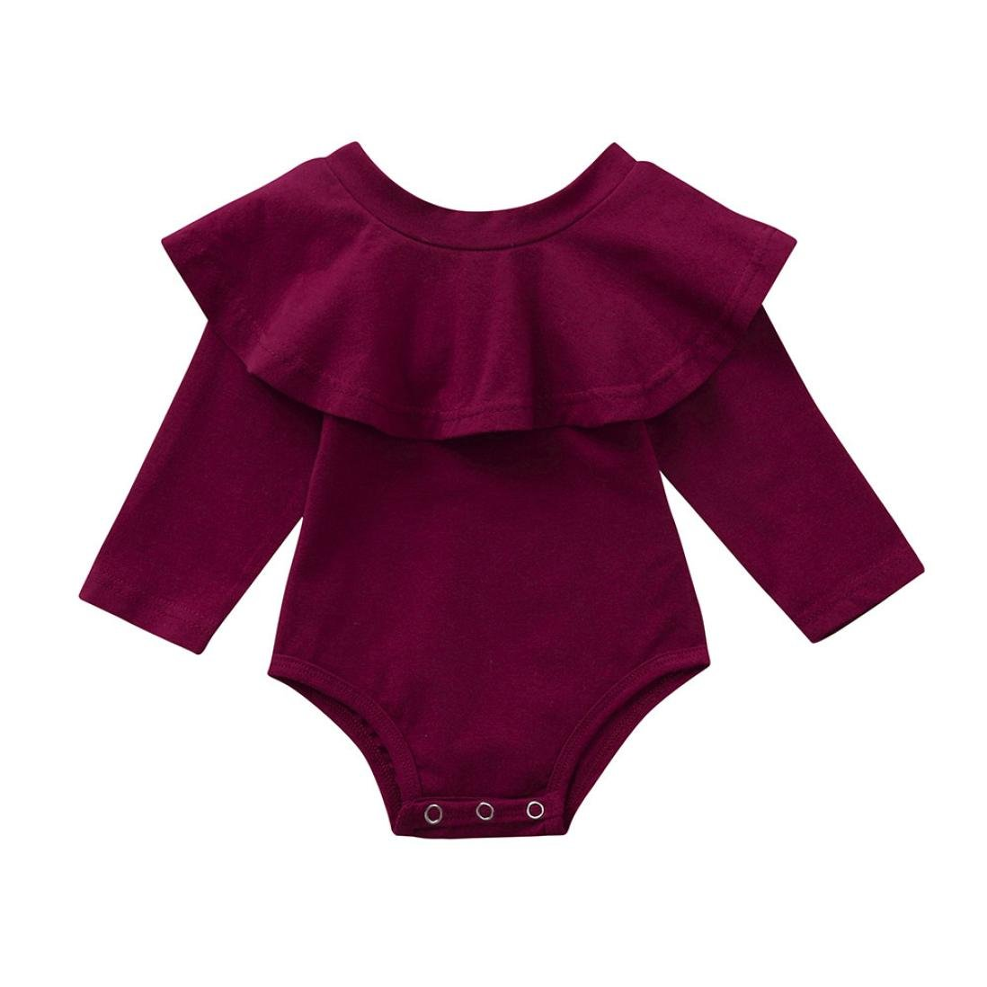 Jchen(TM) Newborn Infant Baby Girls Long Sleeve Floral Ruffles Romper Jumpsuit Clothes Playsuit Sleepsuit for 0-24 Months