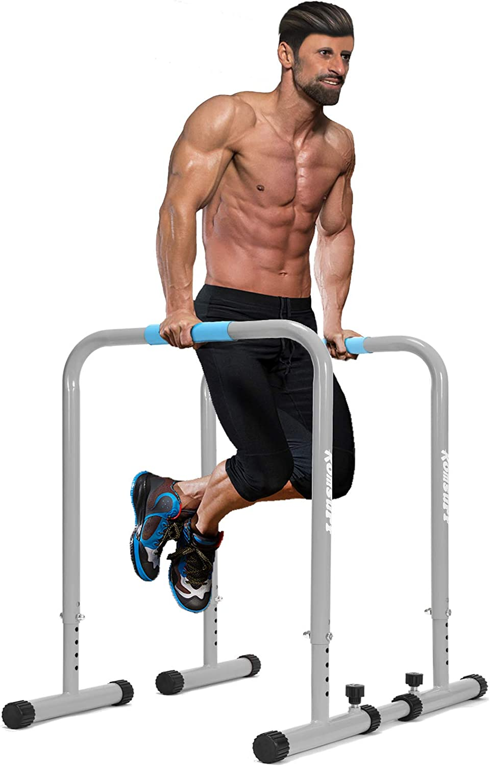 KOMSURF Dip Bar Training Station – Dip Station Upgraded Heavy Duty Dip Bars with Adjustable Safety Connector, Strength Training Parallel Bars for Home Exercise,550Lbs Weight Capacity